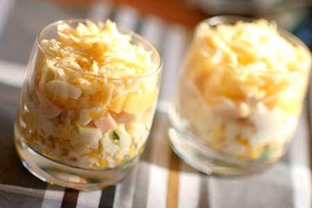 Рецепт салата с ветчиной и ананасом